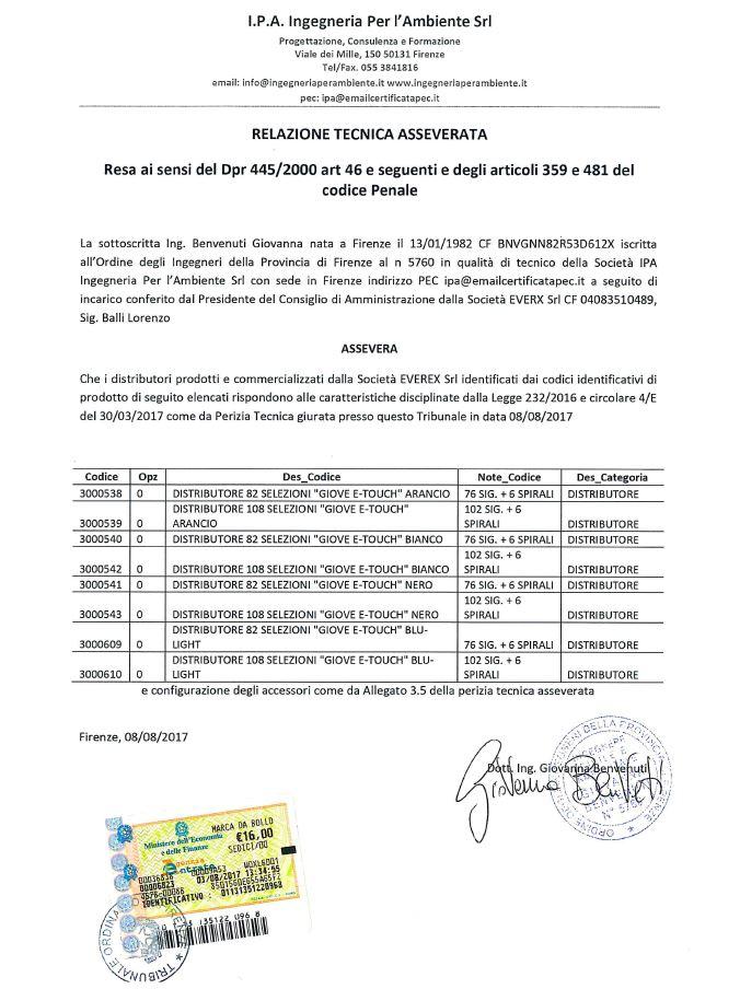 Iperammortamento 250 distributore sigarette evx vending for Fac simile autocertificazione per detrazione materasso