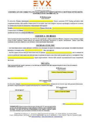 CERTIFICATO INTERCONNESSIONE EVX iperammortamento