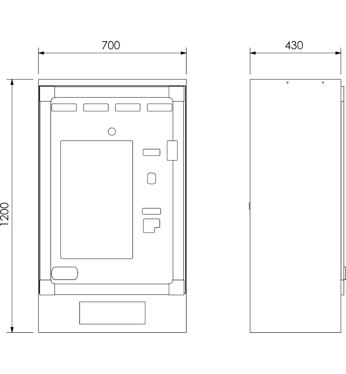 Dimensioni Distributore Venere +Plus 700X430X1200